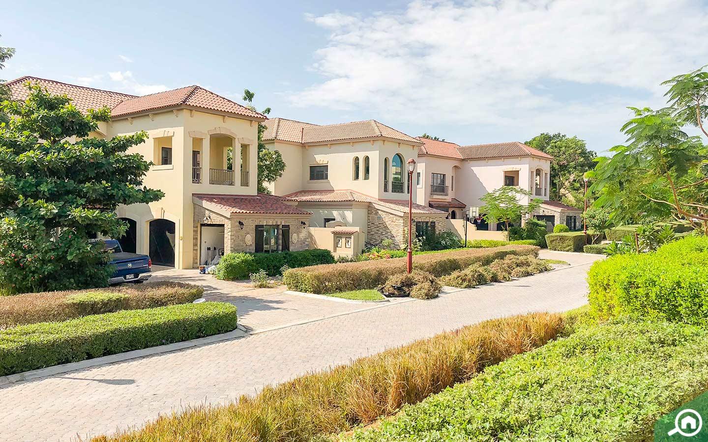 Street view of Jumeirah Golf Estates villas for sale