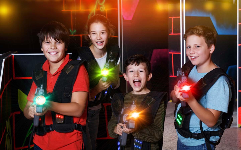 Kids playing laser tag in Abu Dhabi