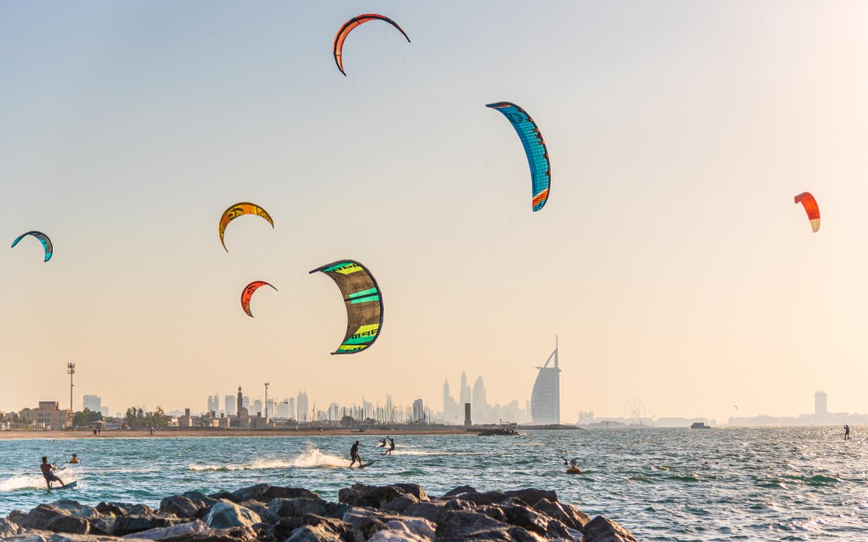 Kite Surfers at Kite Beach near Umm Suqeim Beach Dubai