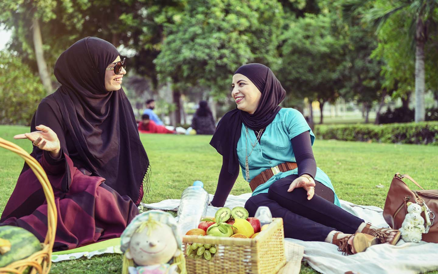 2 ladies enjoy a picnic in one of the few ladies only parks in Ras Al Khaimah