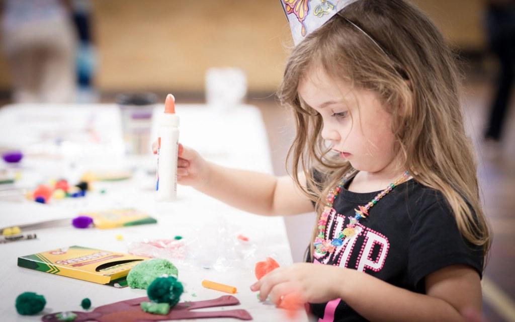 Little girls making DIY project