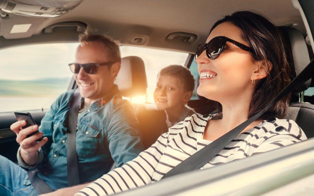 Family living in Dubai, driving a car
