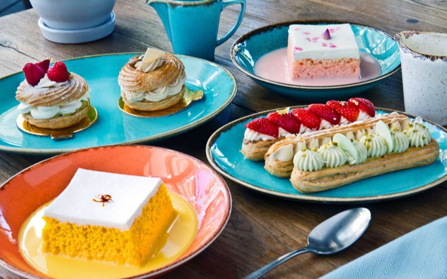 View of pastries and milk cake at London Dairy Bistro on Sheikh Zayed Road