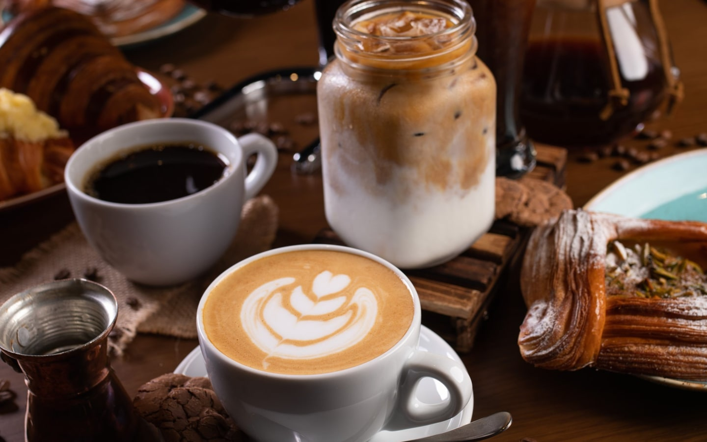 Coffee and desserts served at London Dairy Cafe Springs Souk