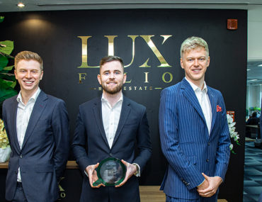 Aaron Grieve, Christopher Hogg and Richard Grieve, Managing Partners at Luxfolio Real Estate with Bayut Team