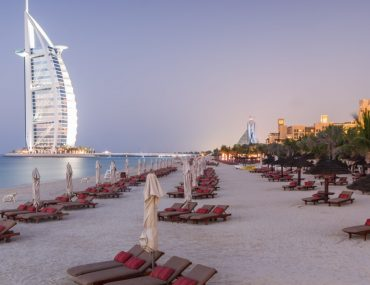 Madinat Jumeirah private Beach with sun loungers