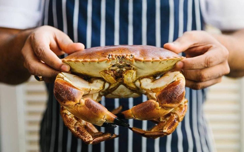 Man holding a crab