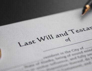 Document showing last will and testament