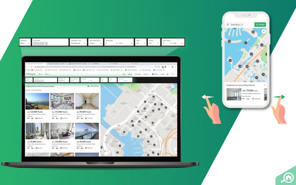 Interactive features on Bayut's Map View feature