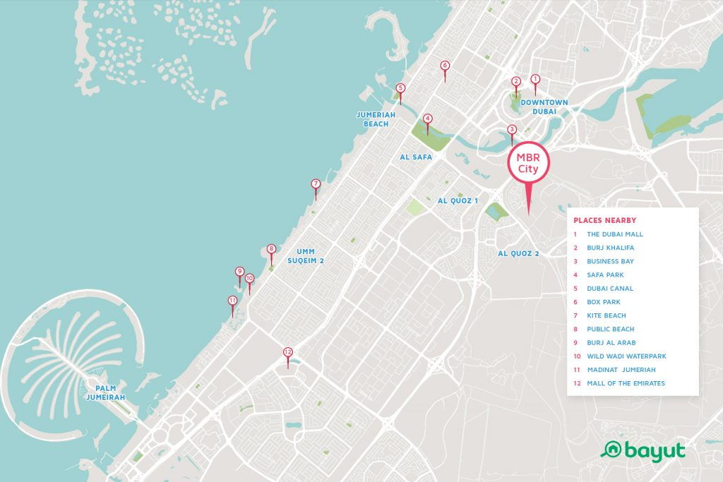 Google Maps showing the location of MBR City Dubai with some of the nearby landmarks like Burj Khalifa and Mall of the Emirates also pin-pointed