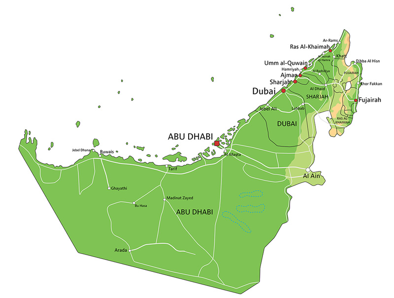 Map of the UAE demonstrating emirates of Dubai covered by the Bayut property search app