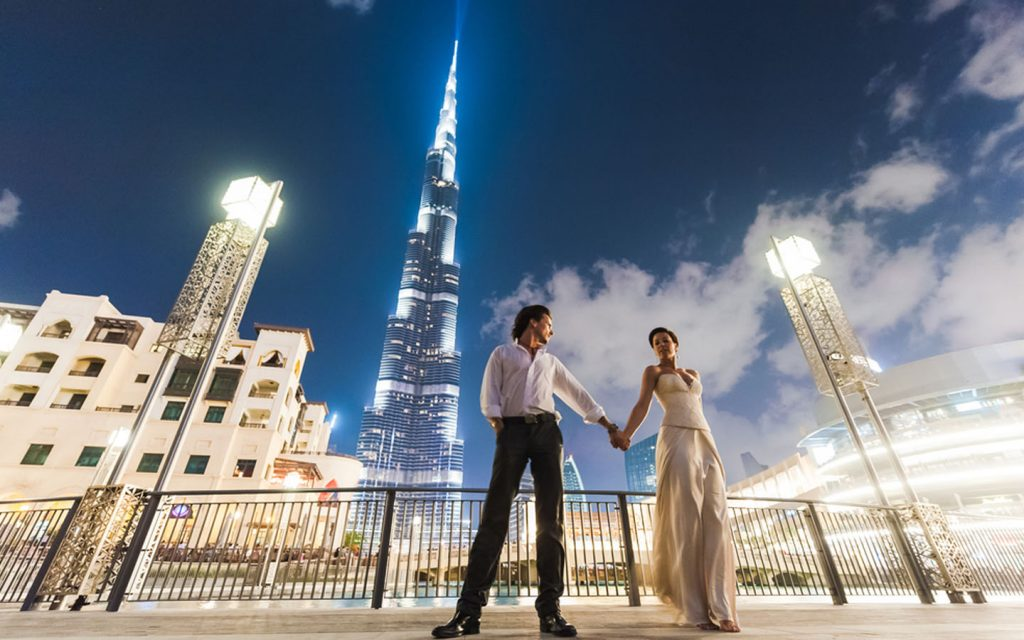 Married couple with Burj Khalifa in the background