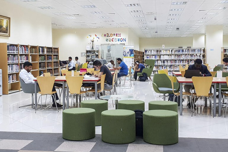 Interior of public Libraries in Abu Dhabi