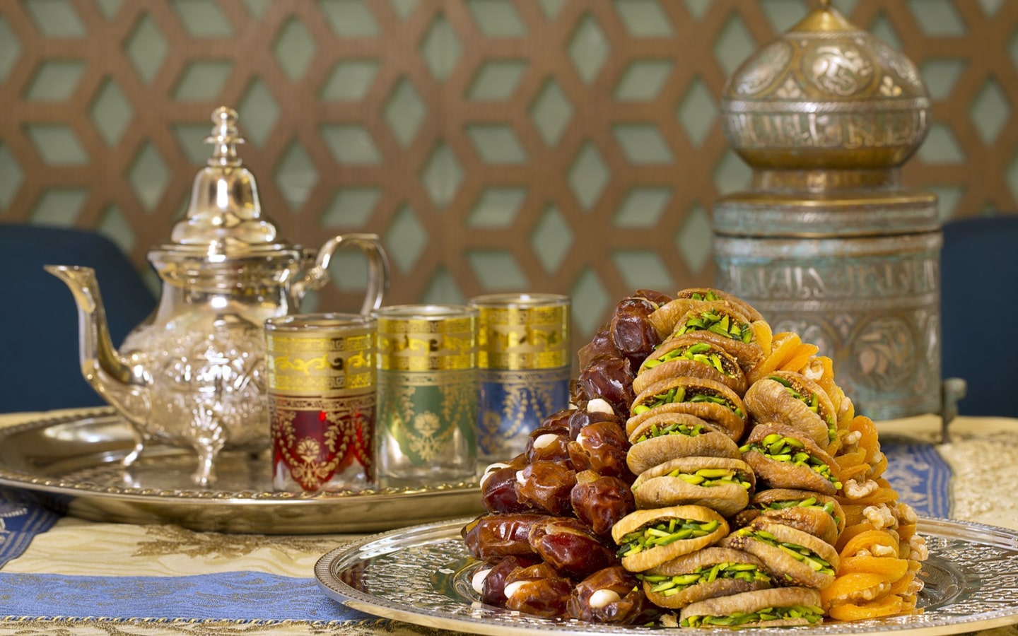 View of dates and traditional arabic coffee at Mijana