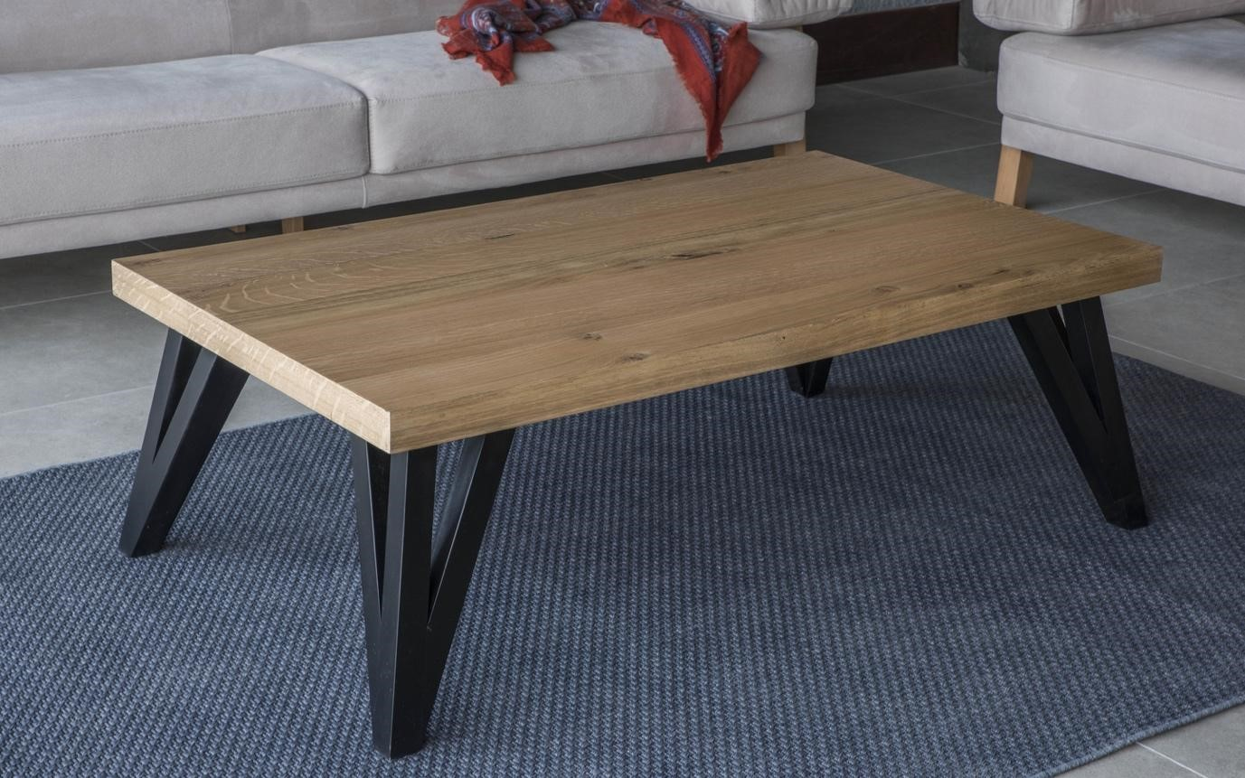 Modern coffee table with wooden top
