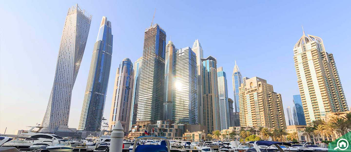 Buildings on Dubai Marina waterfront