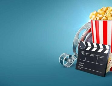Pop corns and show reel of a cinema