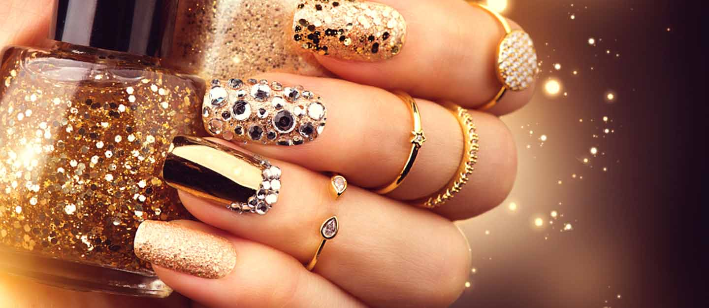 manicured nails with nail art