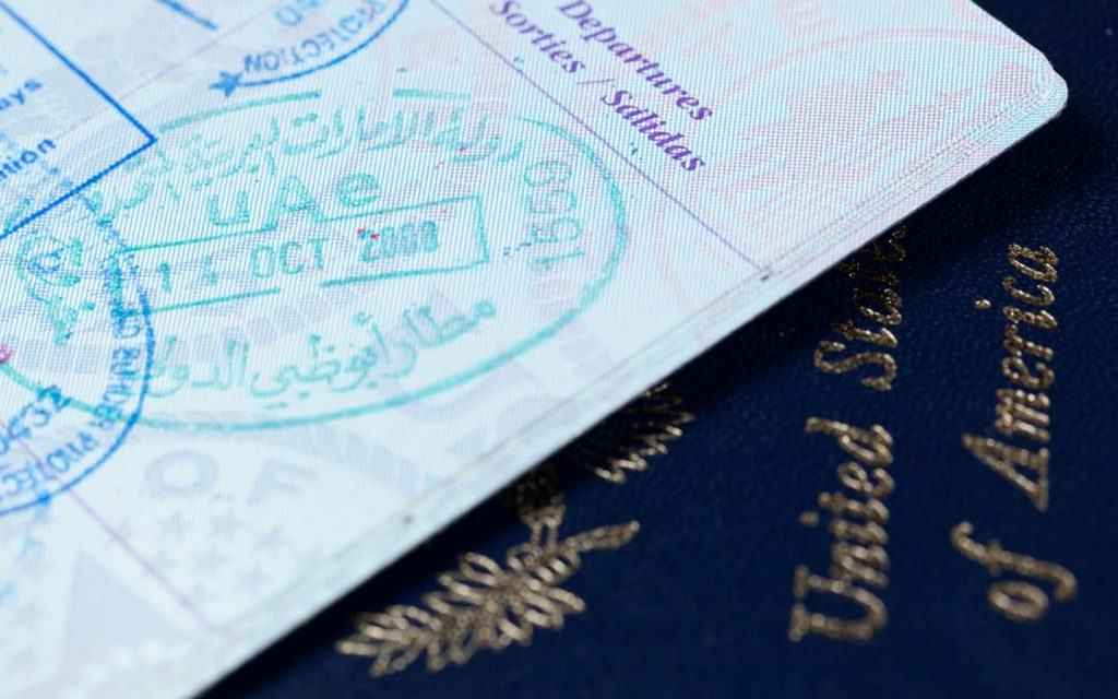 US passport with a UAE entry stamp