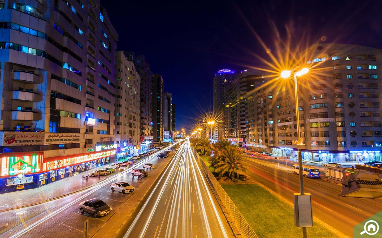 Night street view Al Rashidiya_Ajman