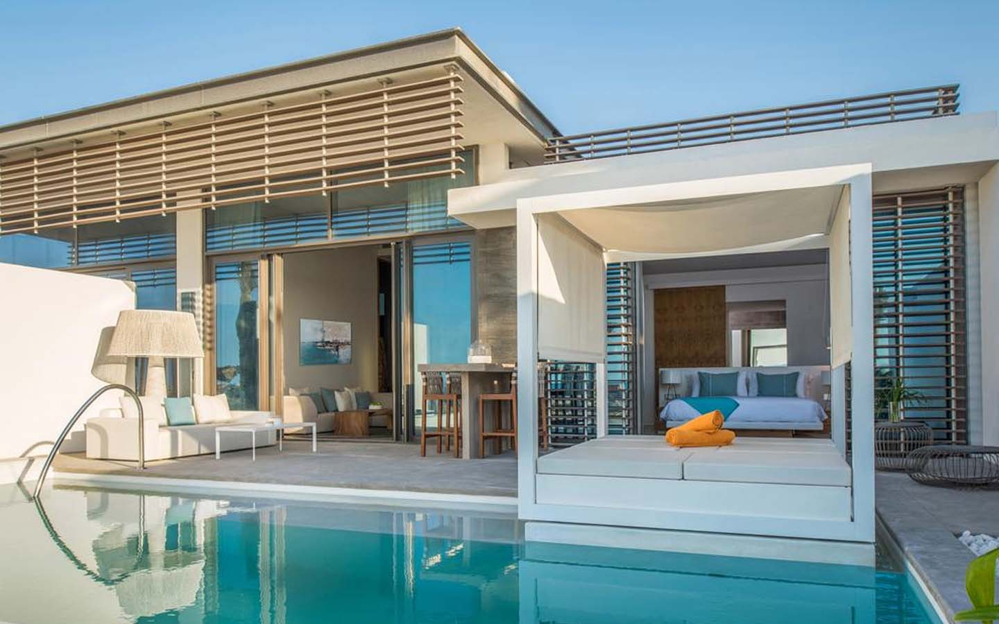 Nikki beach villa with a private pool and over-the-water cabana