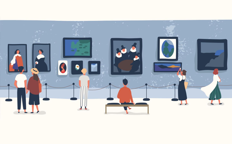 لوحة فنية تصور أشخاص في متحف