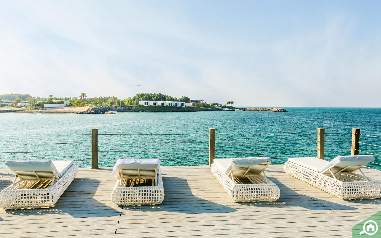 Waterfront views of Nurai Island in Abu Dhabi
