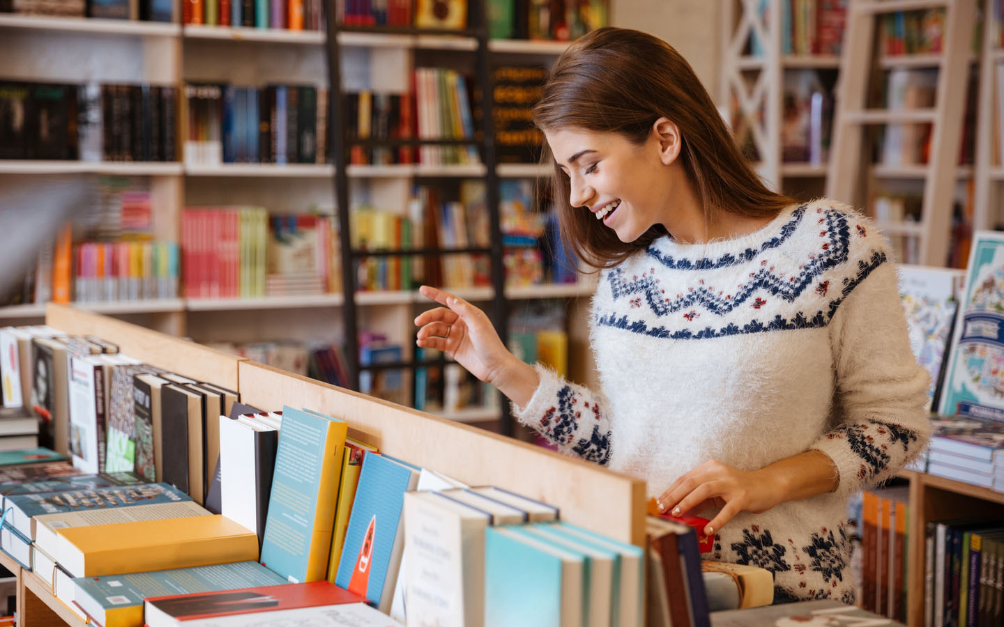 Woman browsing in book store