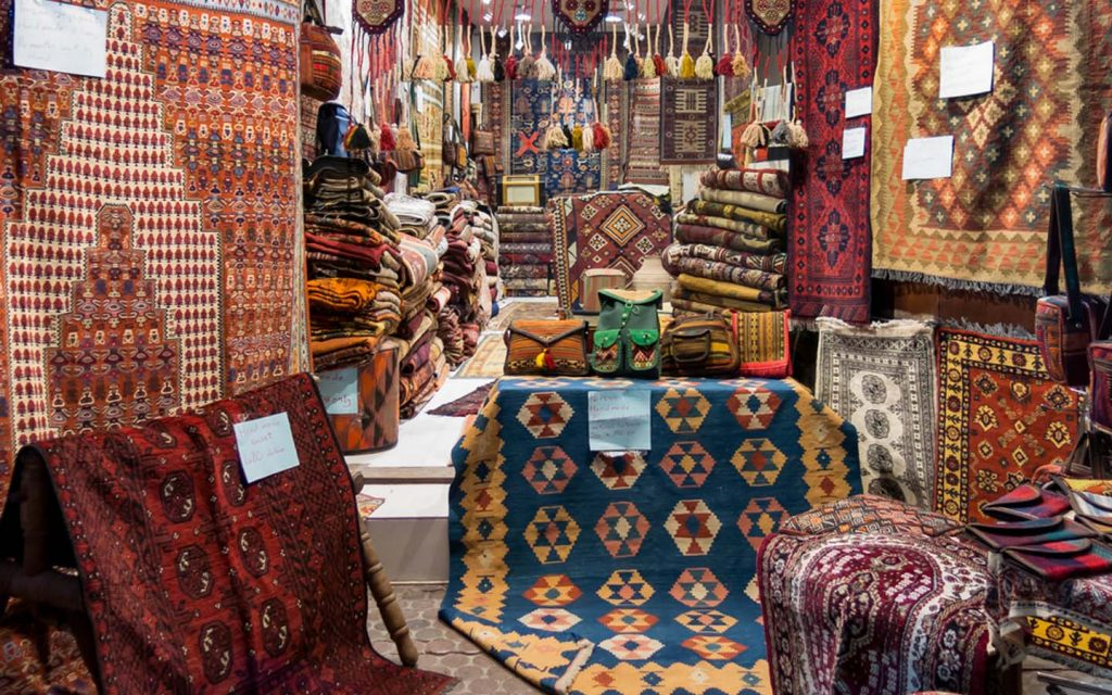 View of a shop in textile souk