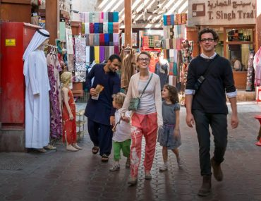 A family shopping at Old Souk Dubai
