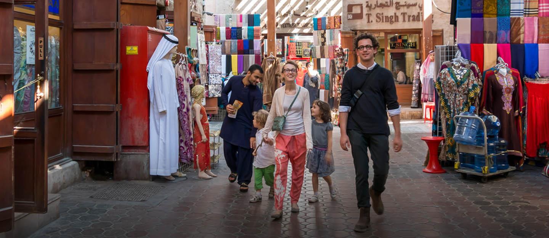 A family shopping at Old Souk Dubai