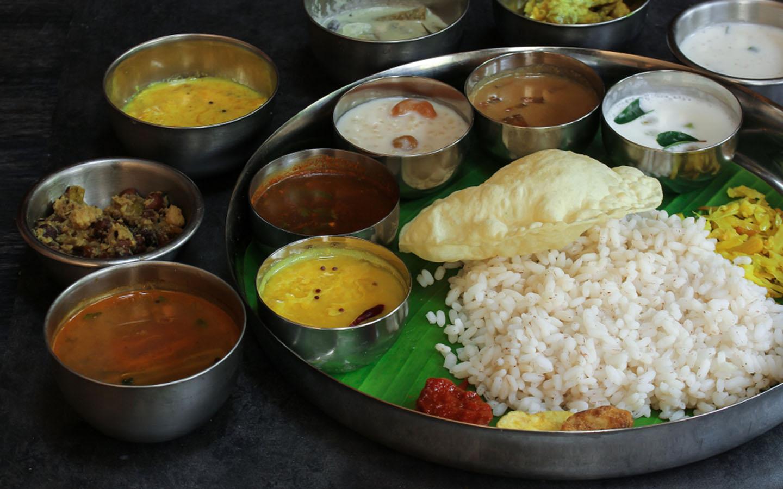 Rice, Curries, chatnis and vegetables at Onam Sadya feast