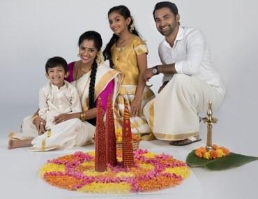 Family celebrating Onam in Dubai