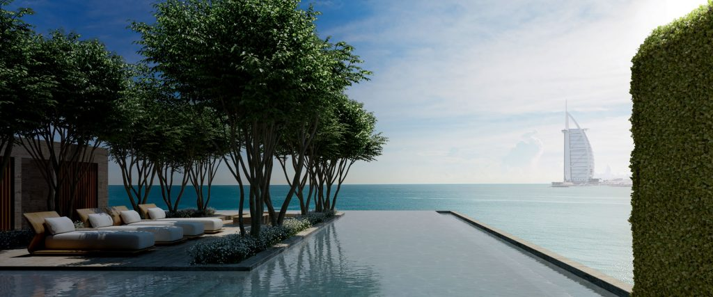 A computer-generated image of an infinity pool with trees nearby overlooking the Arabian Gulf and Burj Al Arab