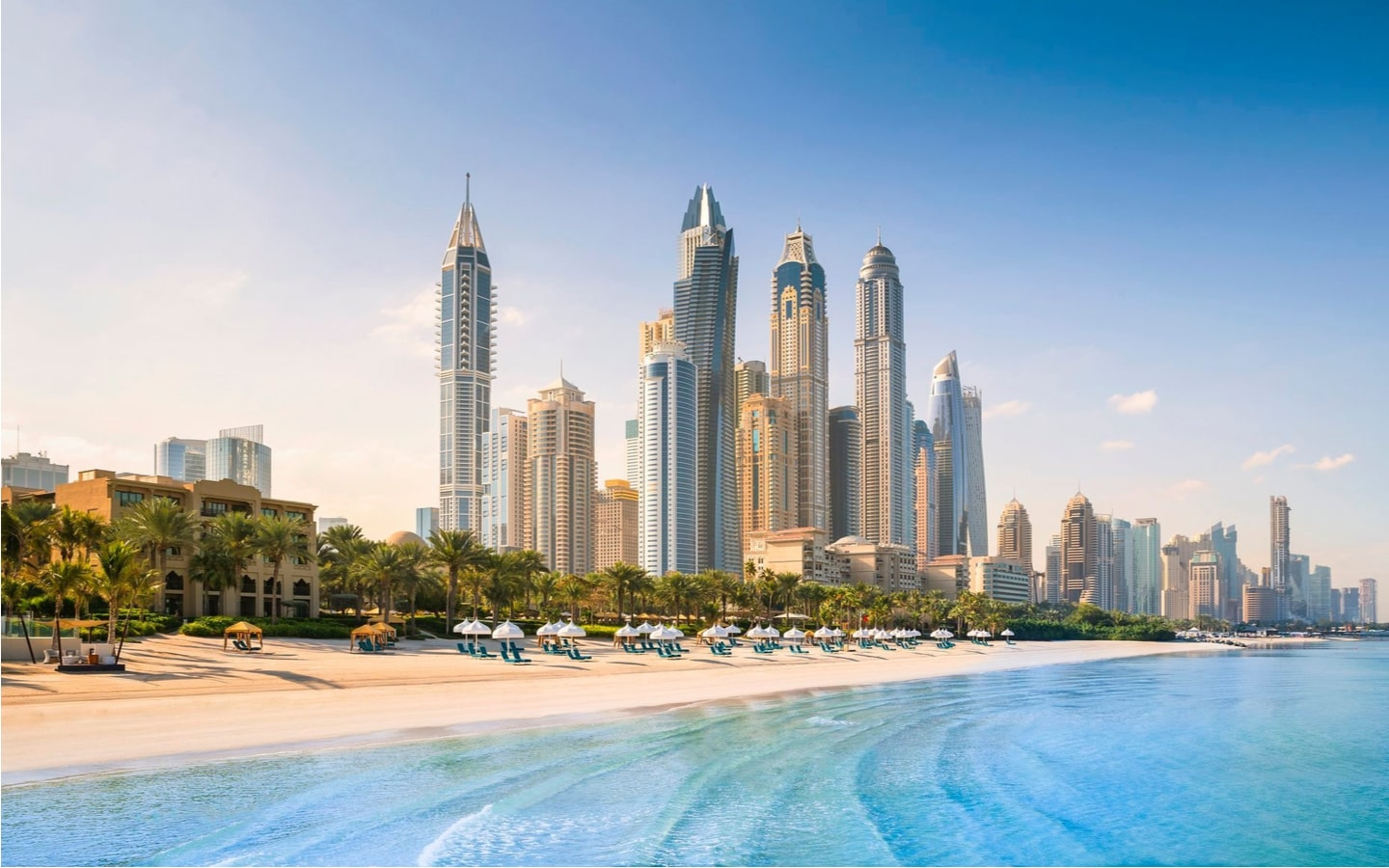 View of One and Only Royal Mirage private beach in Dubai