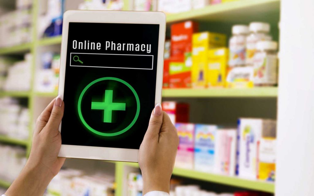 Online pharmacy search bar on an iPad