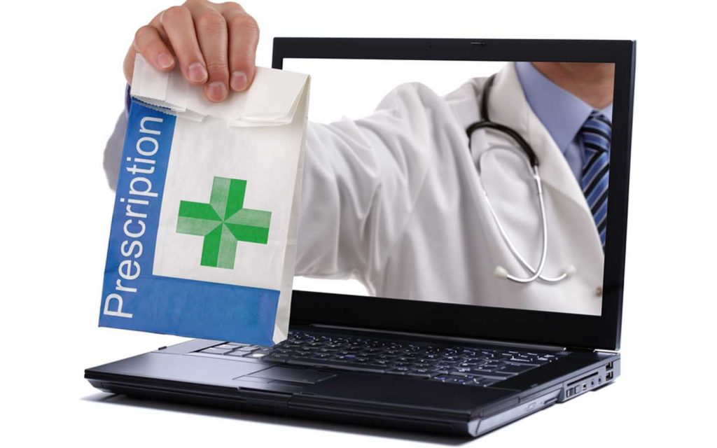 Pharmacist with a bag of medicines