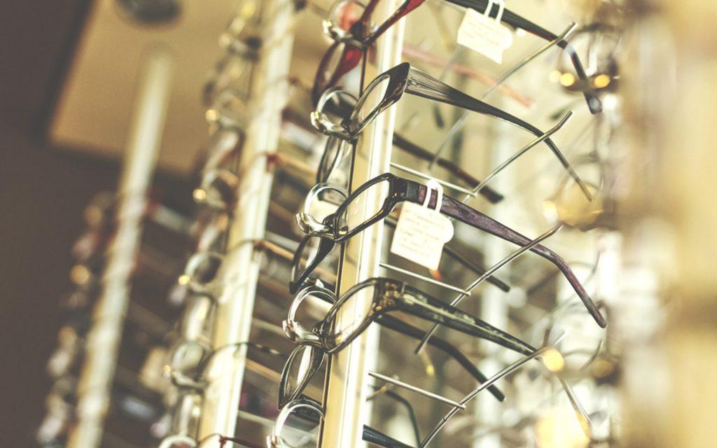 prescription glasses in a shop