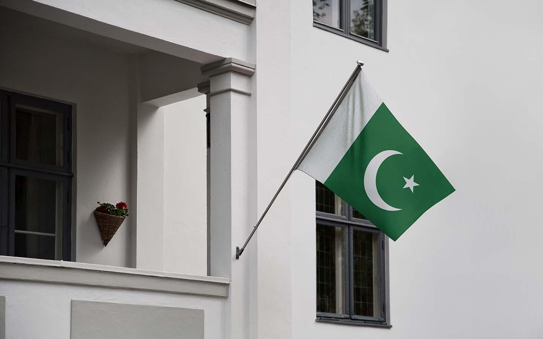 Pakistan flag outside a house