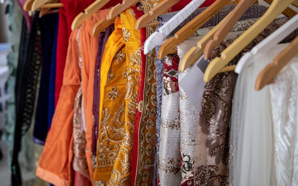 Pakistani ladies dresses on display at a shop