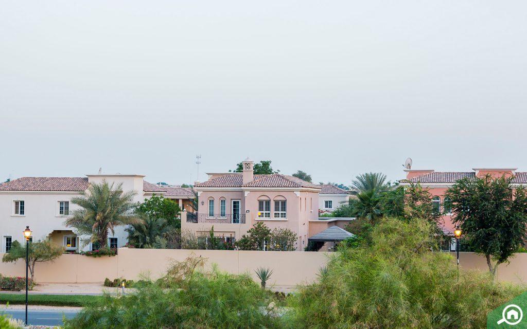 Distant view of a Palmera villa in Arabian Ranches