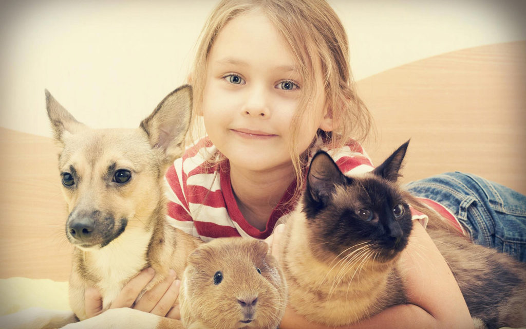A little girl with her pets