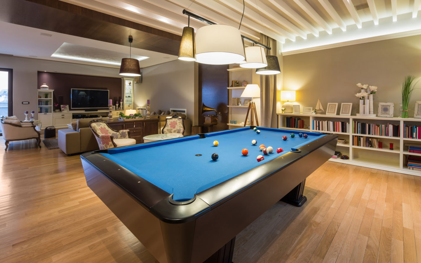 A pool table in your family room increases the fun