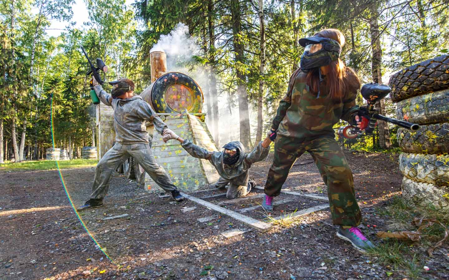 Protecting fellow paintball player