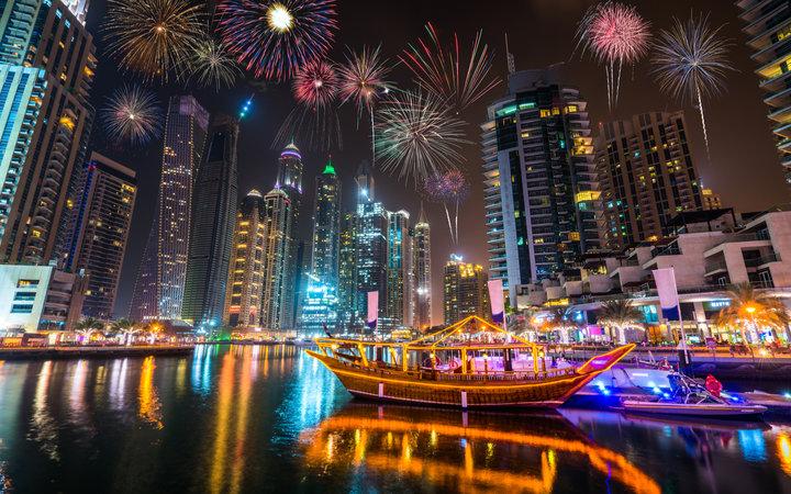 Fireworks in Dubai during UAE public holidays in 2019