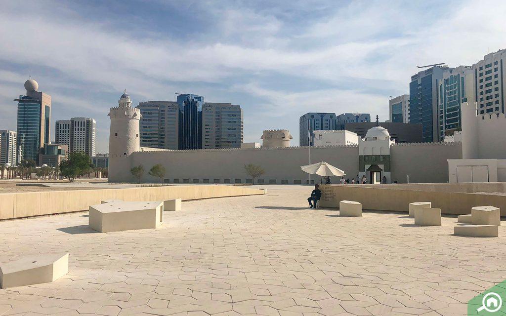 Qasr Al Hosn with modern Abu Dhabi in the backdrop