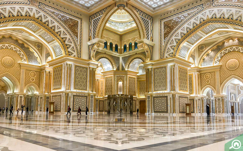 View of the Great Hall in Qasr Al Watan, indoor attraction in Abu Dhabi