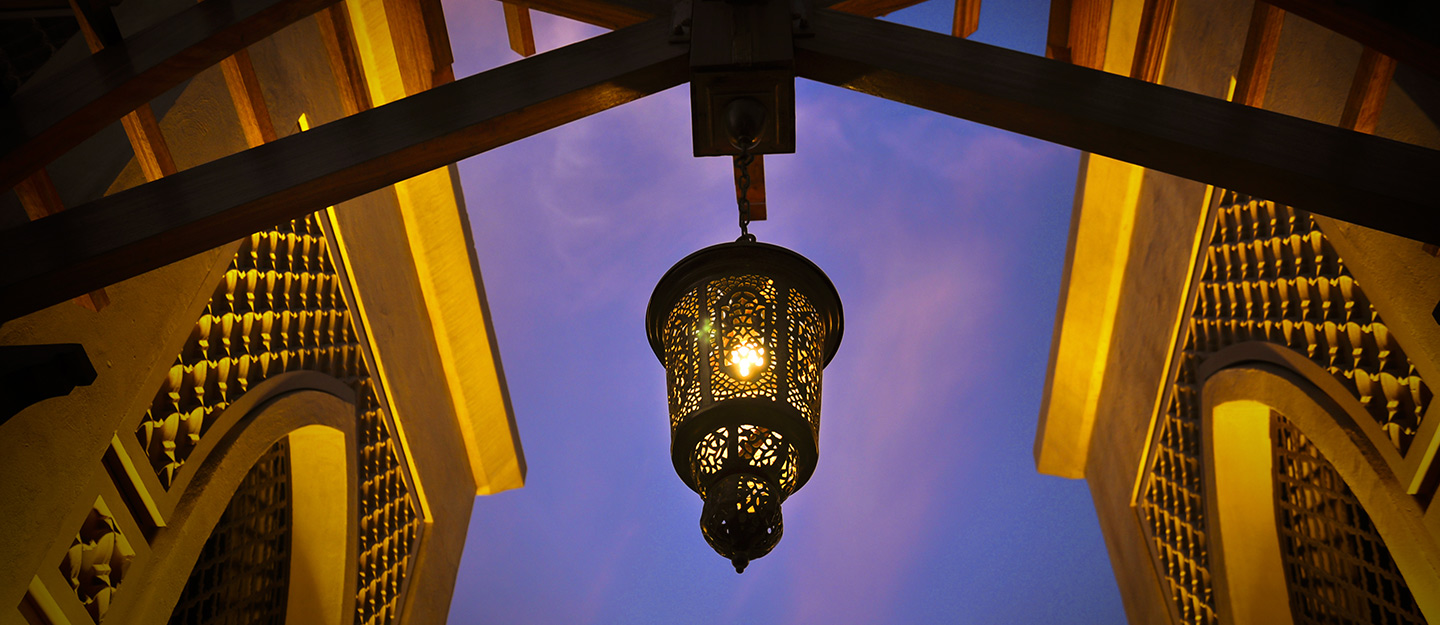 View of Lantern in Iftar tents in Dubai