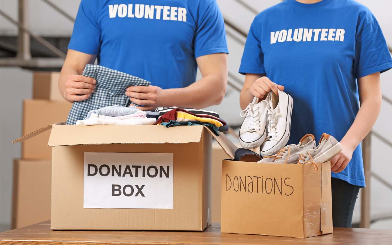 Donation boxes.