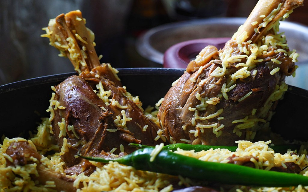 Mandy rice - a traditional middle eastern rice cooked together with lamb shank